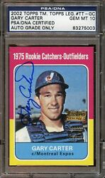 2002 Topps Legends GARY CARTER Autograph PSADNA 10 Gem Mint Auto Signed 1975 RP