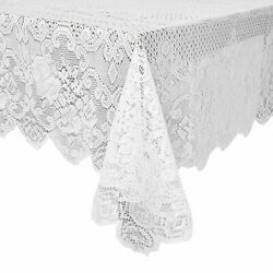 White Lace Rectangular Tablecloth Elegant Floral Table Cloth for Parties 60quot;x97quot; $12.99