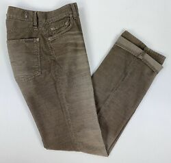 7 Seven For All Mankind Mens Size 32 x 34 Brown Button Fly Corduroy Pants USA GC