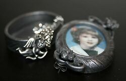 Torino Pewter Oval Frame  Earrings Pin Necklace & Jewelry Box
