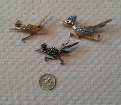 Lot of 3 Vintage Roadrunner Brooches or Pins-2 Unbranded and 1 Boucher-Nice