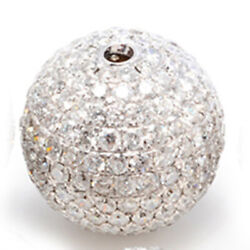 2.4ct Natural Diamond Pave Disco Bead Ball Spacer Finding 18k White Gold Jewelry