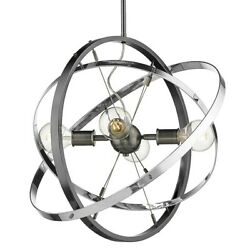 Golden Lighting Atom 4 Light Chandelier Steel Chrome Chrome 7936 4BS CH CH $204.99