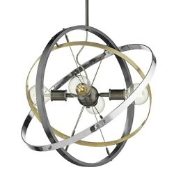 Golden Lighting Atom 4 Light Chandelier Steel Brass Chrome 7936 4BS AB CH $204.99