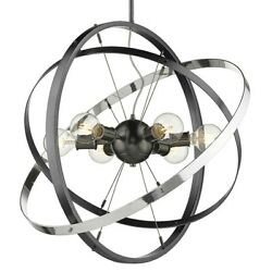 Golden Lighting Atom 6 Light Chandelier Steel Steel Chrome 7936 6BS BS CH $254.99