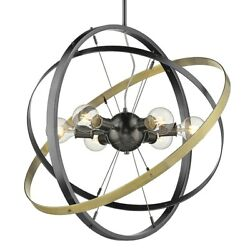 Golden Lighting Atom 6 Light Chandelier Steel Steel Brass 7936 6BS BS AB $254.99