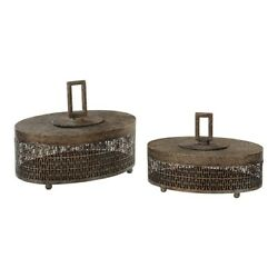Uttermost Agnese Antiqued Gold Boxes Set Of 2 18758 $176.00