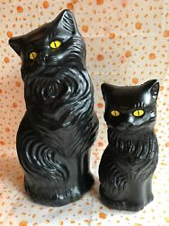 Blow Mold Halloween Black Cats Decoration Yellow Eyes Union Products  Pair