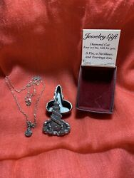 Pewter Torino Lighthouse Necklace  Earrings & Pin Trinket Box Set with Box