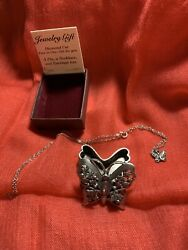 Pewter Torino Butterfly Necklace  Earrings & Pin Trinket Box with Box
