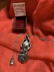 Pewter Torino Snowman Necklace  Earrings & Pin Trinket Box with Box