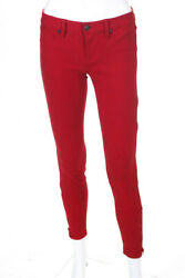 Genetic Denim Womens The James Zip Ankle Classic Rise Skinny Jeans Red Size 26