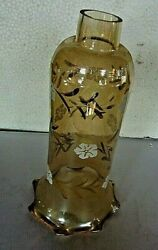 Egyptian Amber HAND BLOWN Painted Etched SHADE Globe 11 5 8quot; Tall $25.00