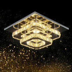 Crystal LED Ceiling Light Crystal Chandelier Modern Flush Mount Light Fixture $49.99