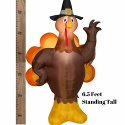 Thanksgiving Yard Inflatables Outdoor Turkey Light Up Decoration 6.5 Ft For Lawn