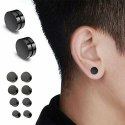 Men Women Stainless Steel Stud Earrings Magnetic Ear Plugs Non Piercing Clip On $4.99