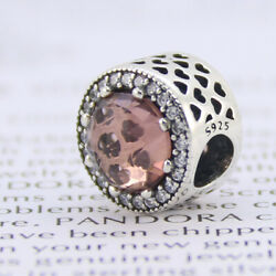 New Authentic Pandora Charm Radiant Hearts Blush Pink Crystal Clear CZ 791725NBP