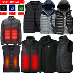 USB Electric Heated Vest Jacket Thermal Warm Heat Pad Winter Body Warmer Unisex