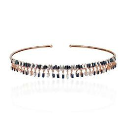 Black Friday Sapphire Diamond 18kt Rose Gold Baguette Choker Necklace Jewelry