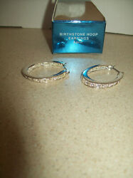 Avon Silvertone HOOP Pierced Earrings with Clear Stones NIB