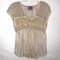 Free People Boho Brown Sleeveless Peasant Tunic Size Small S