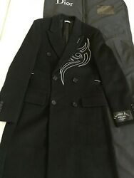 AUTHENTIC DIOR HOMME FW18 TRIVIAL DOUBLE BREASTED RUNWAY OVERCOAT JACKET 46