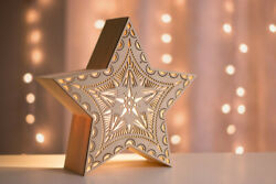 wooden mdf stand up star shaped box home decor item laser cutting design