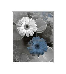 Blue Gray Daisy Flowers Rustic Bedroom Bathroom Wall Art Matted Picture $16.99