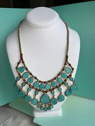 Gold Tone Wood Beaded Turquoise Teardrop Statement Necklace