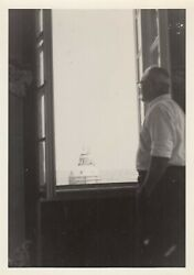 Vintage Photo Older Man Looking Out Window At City Scape Surreal Silhouette