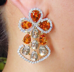 13.60CT ESTATE VINTAGE DIAMOND GOLDEN CITRINE SMOKY TOPAZ DROP 18K G EARRINGS