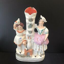 Antique 19th Century Staffordshire Spill Vase Boy & Girl Fetching Water-c1870