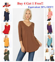Womens 34 Sleeve T-Shirt V-Neck Casual Basic Tunic Top Long Loose Blouse S-3X