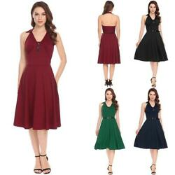 Women Casual Halter Backless Sleeveless Casual Party Belted Swing Dress EHE8