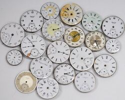 Huge 20 pcs Vintage Antique Pocket Watch Dials W Movement Pillar Plates LOT #WL1