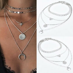 1pcs Simple Women Multilayer Silver Choker Star Moon Chain Pendant Necklace Gift