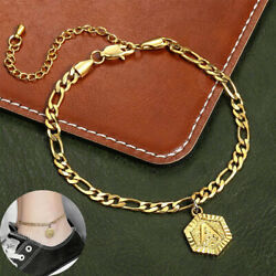 5mm Womens Figaro Chain Hexagon Initial Letter Charm Anklet Stainless Steel $7.59