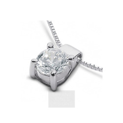 1 12ct G SI1 Round Natural Certified Diamond 950 PL. Classic Solitaire Pendant