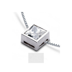 1 34ct G VS1 Princess Earth Mined Certified Diamond 950 PL. Solitaire Pendant