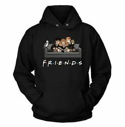 Friends Harry Potter Hermione Harry Ron Happy Halloween Black Hoodie Funny HOT