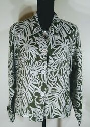 Womens chico Green Flowered top size 2