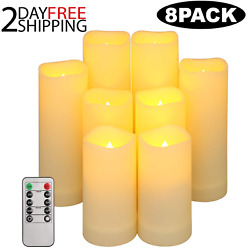 Set Of 8Luminara Flameless Pillar Ivory Candle Moving Wick LED with Remote Timer