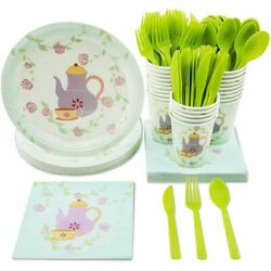 Tea Party Supplies Serves 24 Includes Plates Knives Spoons Forks Napkins