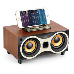 TAMPROAD Desktop Wooden Wireless Bluetooth Portable Speaker with HD Sound and TF