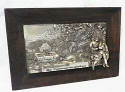 GERMAN Antique AT THE WELL IN FRONT OF THE GATE Linden Tree RELIEF WALL HANGING $125.00