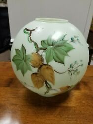 VINTAGE GONE WITH THE WIND OIL LAMP GLASS BALL SHADE~GLOBE HAND PAINTED FLOWERS