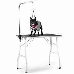 pet grooming table 30quot; steel legs foldable nylon clamp adjustable arm rubber mat $89.99