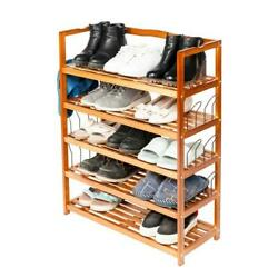 5-Tier Simple Wooden Shoe Rack with 6 Pair Shoe Form Wood Color