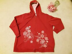 CJ Banks Red White Snowflakes Zip up Hoodie Sweater Jacket Size 2X