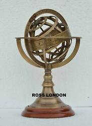 Solid Brass Collectible 8quot; ARMILLARY SPHERE Astrolabe Globe Antique Decor Gift $55.00